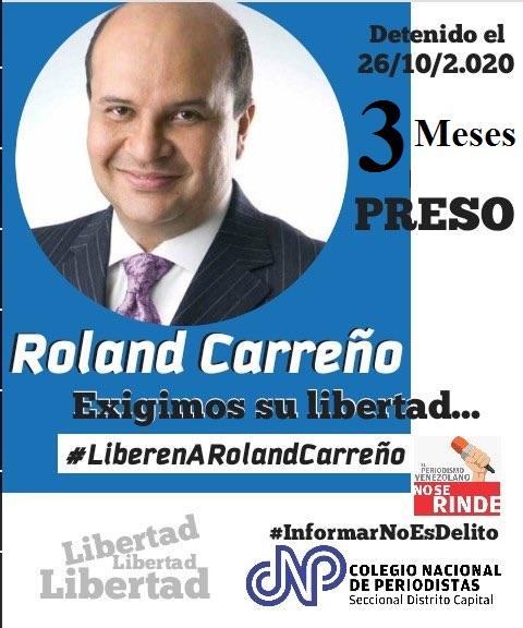 #25Ene  Roland Carreño cumple 3 meses preso.   Una decisión arbitraria , injusta y violatoria de los #DDHH   En Venezuela se usa la justicia para criminalizar la disidencia y la libre opinión. #LiberenARolandCarreño