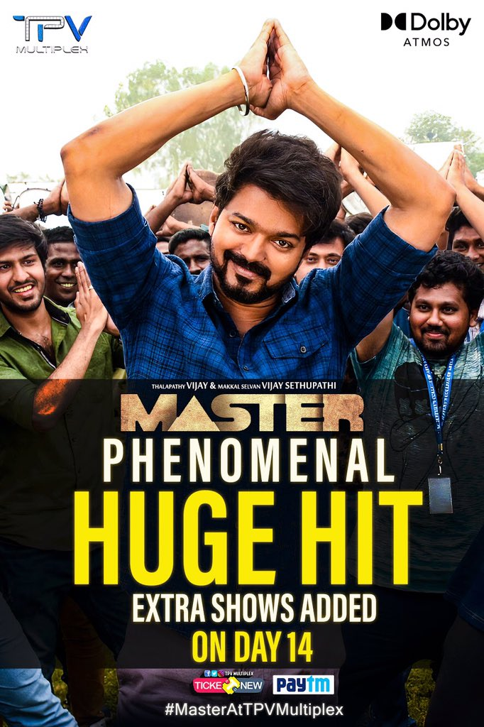 #Master making majestical response @TPVMultiplex! To match the high demand we are adding extra shows on #DAY14 to celebrate 2 weeks of #MasterTheBlaster 🔥  #MasterAtTPVMultiplex