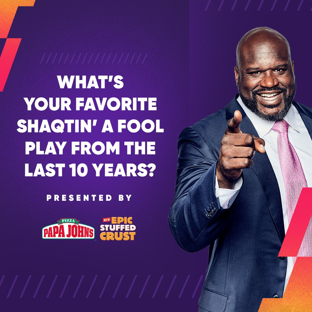 Replying to @shaqtin: Share your favorite #Shaqtin moment from the last 10 years with us! 😂  #10YearsOfShaqtin| @PapaJohns