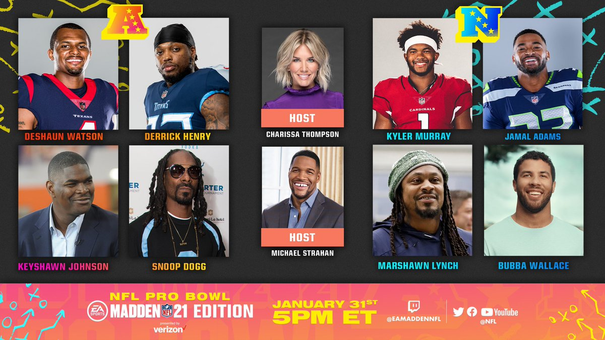 Game on!! Thrilled to be be helping celebrate the best players on the digital field with #ProBowl: The Madden NFL 21 Edition Presented by @Verizon. @michaelstrahan and I will kick it off on 1/31 at 5pm ET on NFL Twitter, Facebook, YouTube, Madden NFL Twitch and more.