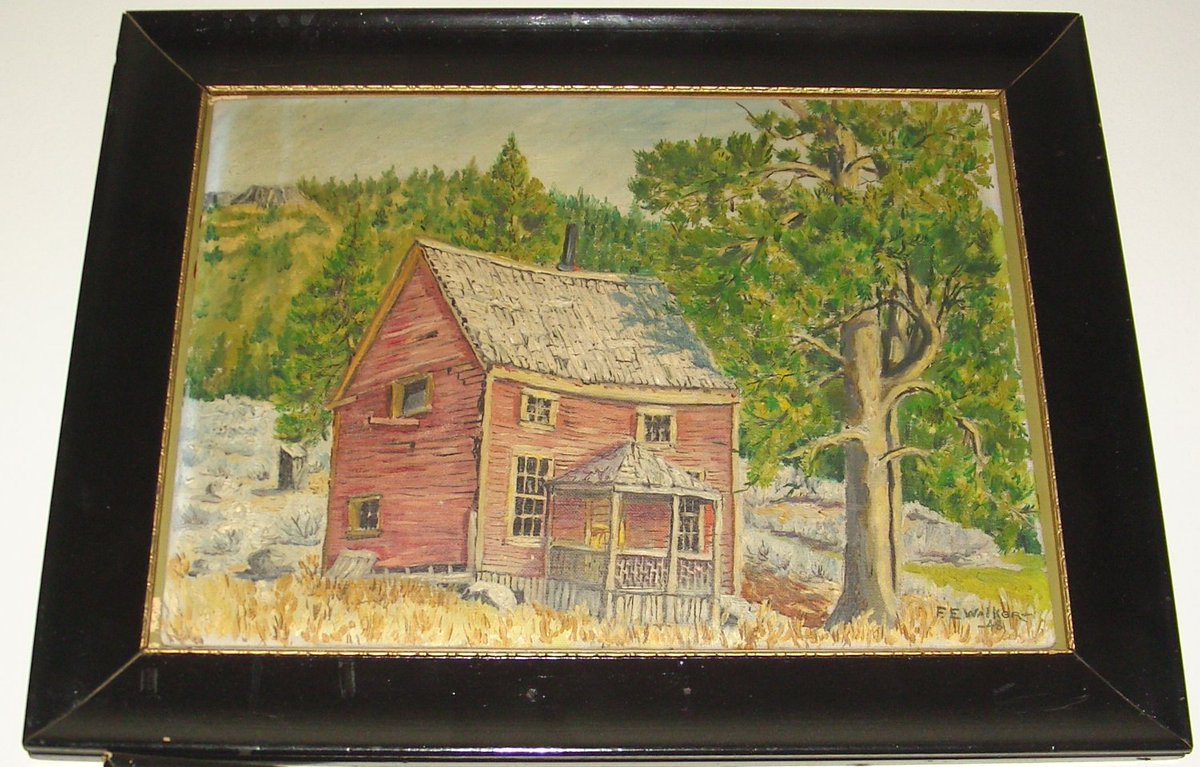 """Painting: """"The Old Scott Home"""" in Squaw Valley  Artist: F.E. Walker  c. 1848  #MondayMotivation  #COVID19  #CovidVaccine  #Art"""