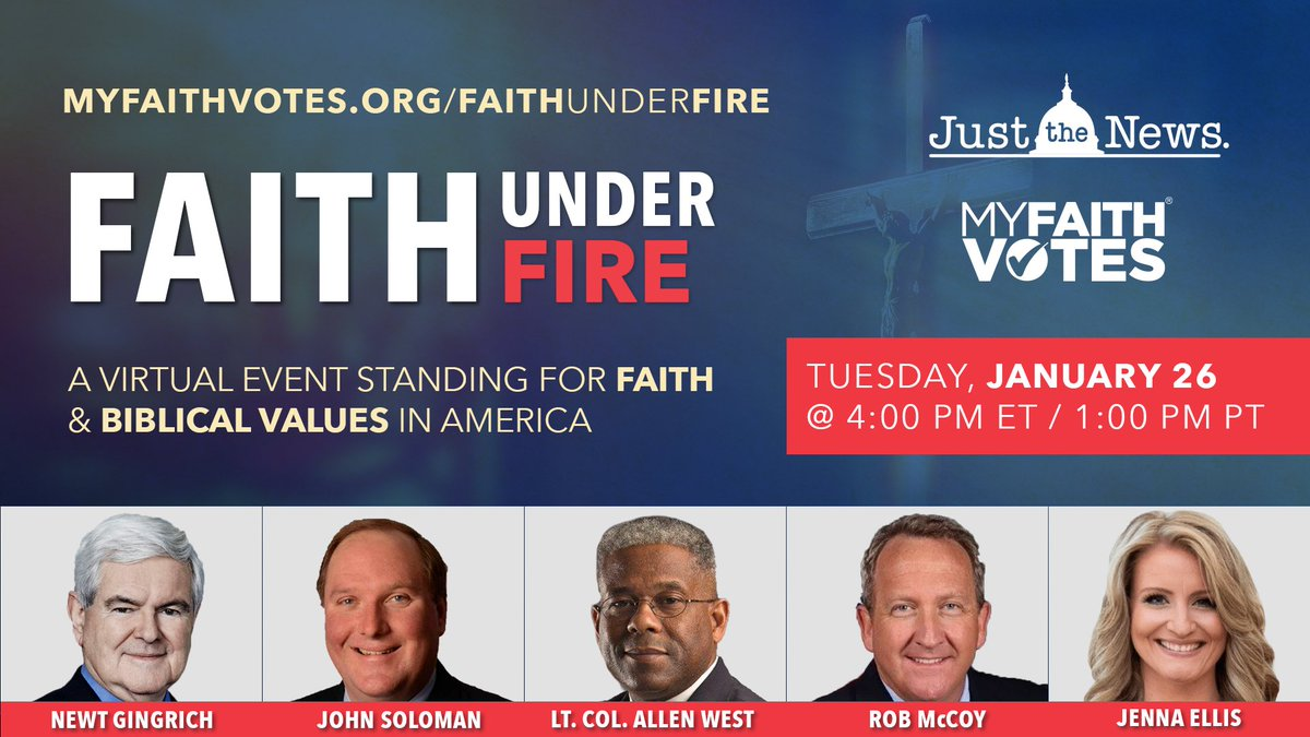 """Looking forward to speaking with @jsolomonReports on a @JustTheNews panel """"Faith Under Fire"""" TODAY at 4pm ET.  Join the live virtual audience:"""