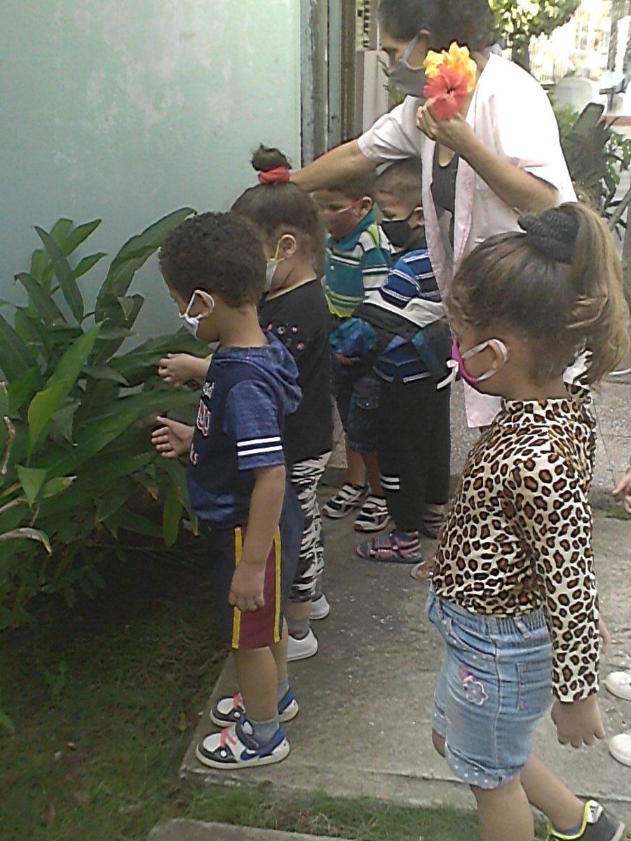 Los niños del quinto año de vida con su educadora Ms. C. Marbelis Gómez en la actividad de Mundo Natural, conversando sobre el cuidado y diversidad de las plantas ornamentales #EducacionHolguin #CubaEduca #CubanosConDerechos #DDHH #SomosCuba #SomosContinuidad