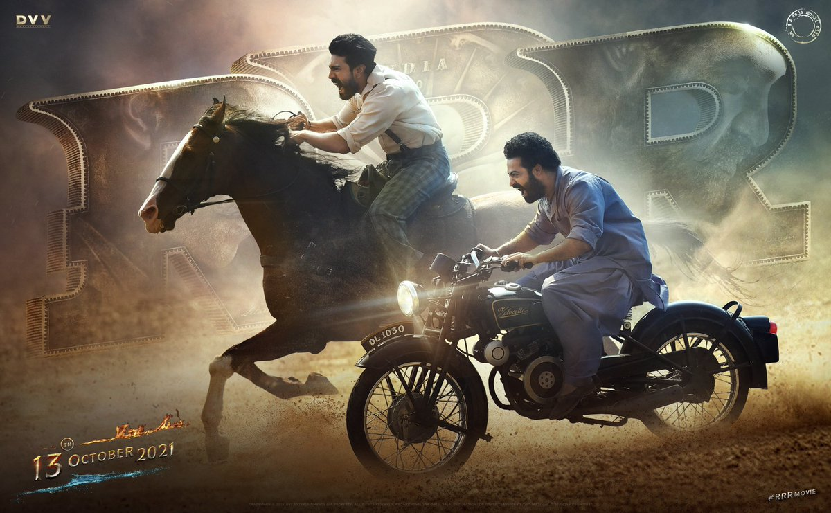 An update tdy frm #RRRMovie is exctng, but the poster dispntd, coz @tarak9999 and @AlwaysRamCharan ride gurinchi #WeRRRback video lo chepyaru, and face expresns of roaring already showed in their respctve intro's !! We expectd more, retweet if u agry wit me #RRRFestivalOnOct13th