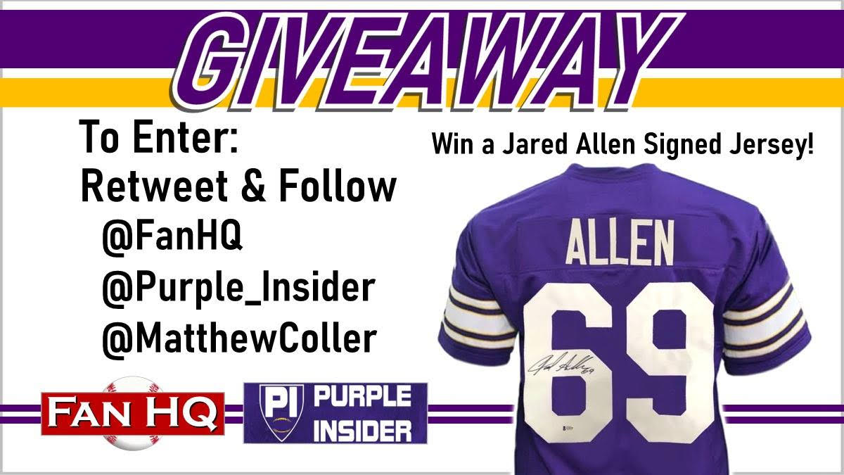 Heyyyy everyone, cool thing here: Purple Insider pals @FanHQ have a giveaway we're doing: A Jared Allen signed jersey. All you have to do is retweet + follow @FanHQ and @Purple_Insider (if you already don't) ...that's it and you're entered to win
