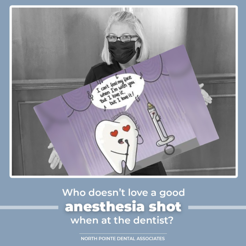 "🎵 ""I can't feel my face when I'm with you, but I love it!"" 🎵 We give you anesthesia to make you feel comfortable!   Does anesthesia make you feel funny? 😀  #safedentaloffice #northpointedental #npda #northpointedentalassociates #dentistry #dentist #dental #smile #teeth #tooth"