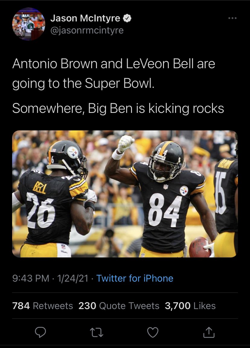 Pretty weird that mainstream media does stuff like this. Feels like a portion of Steelers fans don't even care about Bell/Brown anymore.  Bell has 2 carries and Brown has 3 catches in the entire postseason. Their teams didn't need them to get to the dance. They're just depth.