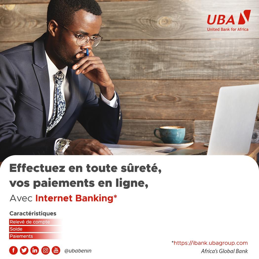 Avec UBA Internet Banking, effectuez toutes vos transactions bancaires quand vous le voulez, où vous le voulez et comme vous le voulez. Inscrivez-vous dès maintenant sur 👉  #InternetBanking #UbaBénin #AfricasGlobalBank #DigitalBanking #wasexo #team229