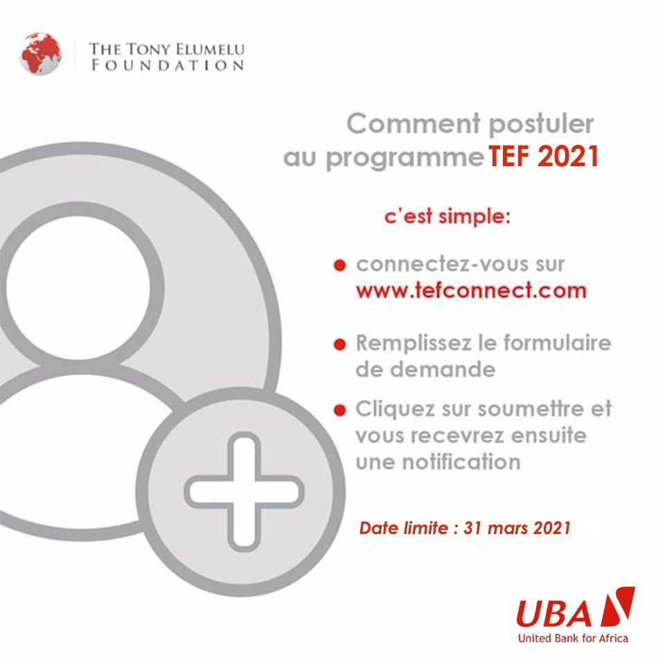 Jusqu'au 31 mars 2021, postulez au programme d'entrepreneuriat #TEF2021, et tentez de bénéficier d'un financement non remboursable de 5000 $.  Une initiative de la @TonyElumeluFDN, en partenariat avec @UBAGroup. RDV sur .  #UBASénégal #AfricasGlobalBank