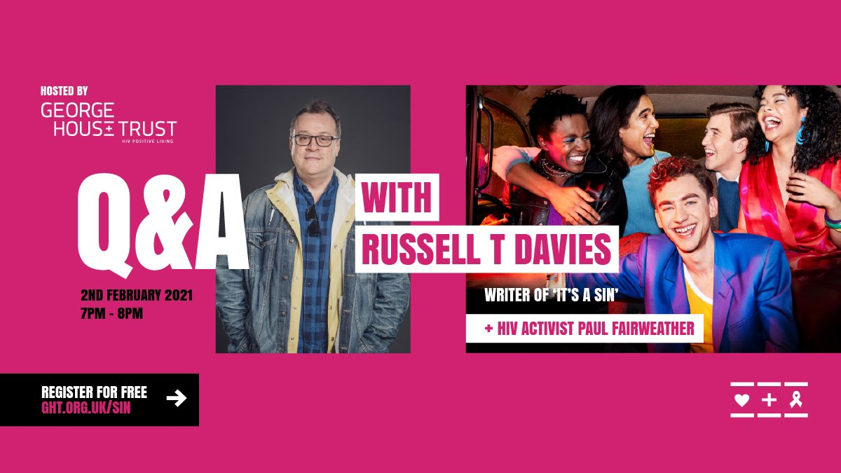 Join us for a free, exclusive Q&A event on 2nd Feb with our patron @russelldavies63 & #HIV activist Paul Fairweather.  ➡️➡️  ⬅️⬅️  Hear what inspired Russell to create #ItsASin, why it's never more needed, and his reasons for supporting George House Trust.