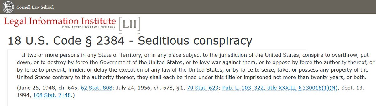 @CREWcrew @FrackHazReveal #insurrection is the hot topic today.  But it's #SeditiousConspiracy and its roots in specific violent acts that will fill the prison cells.  Read slowly. Then read the second half of it again.  Set § 2384 well into memory. #Sedition is a primary tool for fascists everywhere.