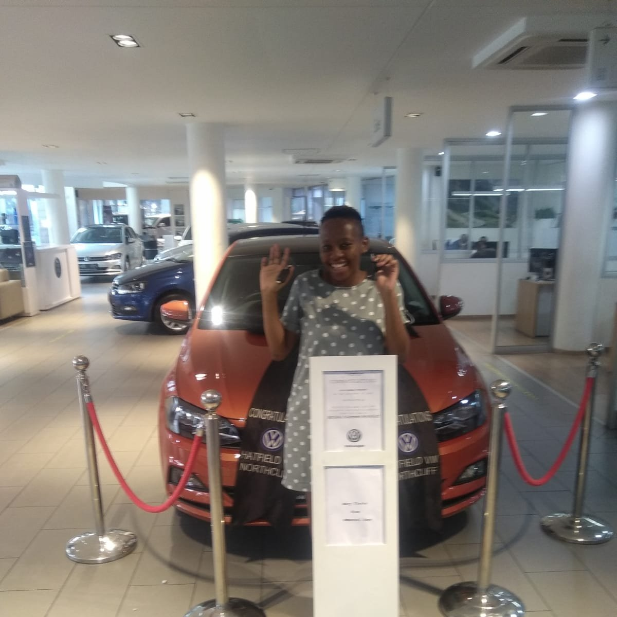 Congratulations to Miss Dakalo Makhado on her New Polo TSI Comfortline 💙🥳  Proudly sold by one of our new Sales Executives: Emmanuel Rams 👏 #hatfieldvwnorthcliff #vwpolo #mondaymotivation #mzansirides #carsofsouthafrica #vwpoloclub #johannesburg #ratedno1inservice