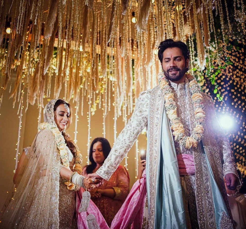 """Bollywood's favourite, @Varun_dvn  and the extremely talented fashion designer, #NatashaDalal finally said, """"I Do!"""" #PVRWishes both of them a long and happy married life."""