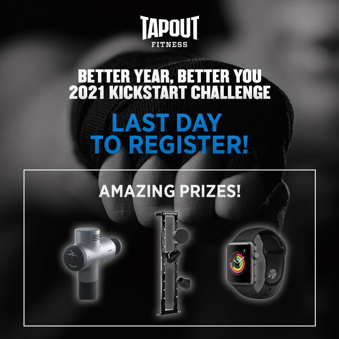 LAST CHANCE!! Join our #FREE #2021 Kickstart #Challenge! #Workout 12 of 30 days in the studio, with #TapoutFitnessTV, or both! REGISTRATION CLOSES TODAY! #fitness  #accountability #motivation #newyearsresolution