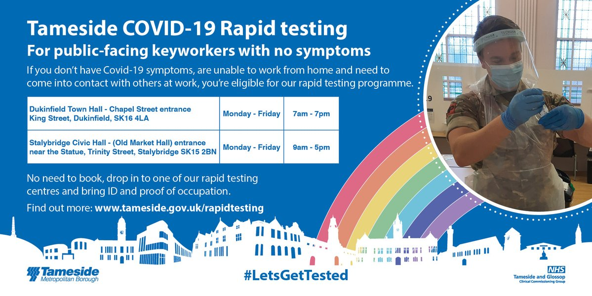 Tameside's COVID-19 rapid testing programme is now underway  You're eligible for our rapid testing programme if you:   ✅don't have COVID-19 symptoms  ✅are unable to work from home  ✅need to come into contact with others at work   👉 #LetsGetTested   👇👇