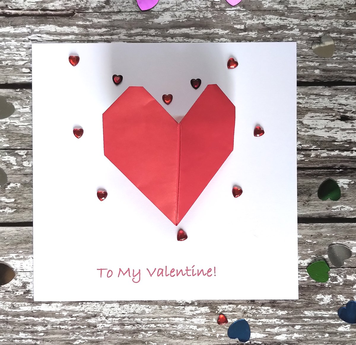 Can be personlised for the luxury touch -  hand-made 3D origami heart   #handmade #card #love #valentine #anniversary #engagement #wedding #TBCH
