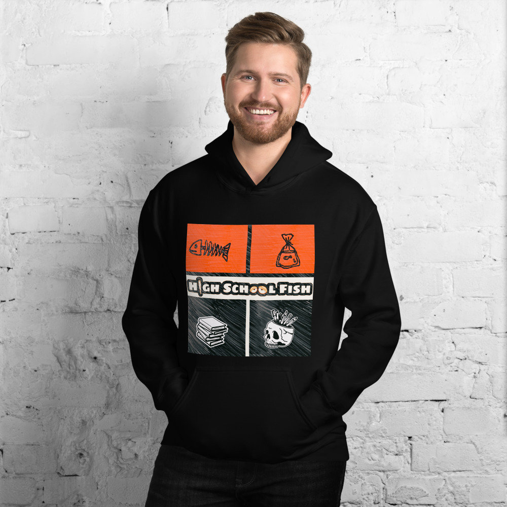 Excited to share the latest addition to my #etsy shop: HighSchoolFish - Hardcore Long Sleeve Skateboard Hoodie  #streetwear #black #white #gray #small #medium #large #xlarge #street