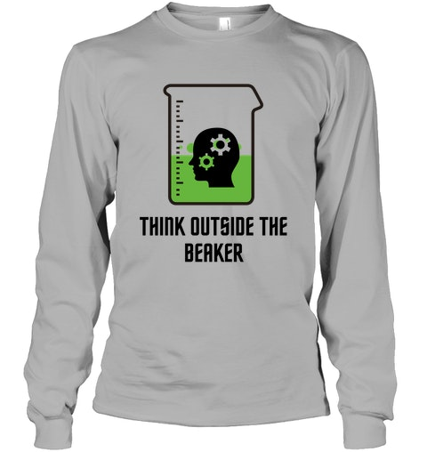 Think Outside The Beaker Unisex Long Sleeve Classic Tee $26.65 USD COLOR: Sport Grey To buy this 😍😍 Click here ⚡⚡  Suede #fashion Yellow #white #gold #ukcraftershour #black #ad  #tshirtdesign #USA #TrendingNow