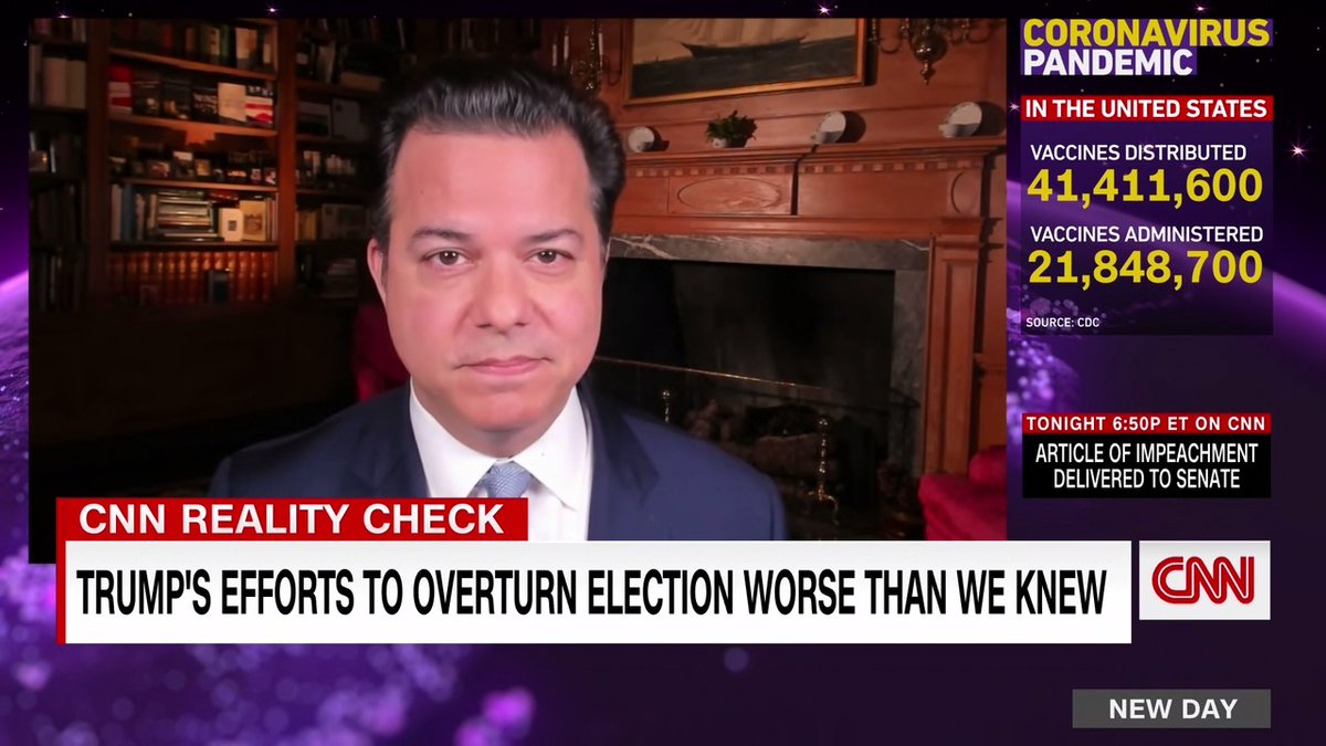 "As more information comes out about Trump's efforts to overturn the election, ""it's going to increase pressure on the Senate to convict Trump for his actions"" @JohnAvlon says in today's #RealityCheck"