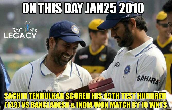 #OnThisDay in 2010 #SachinTendulkar scored his 45th test hundred 143 in the inns vs #Bangladesh  India won the match by 10 wkts  -A post from @sachin_rt pakistani fan page