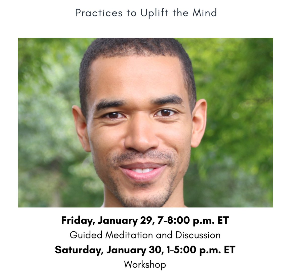 """Join us this weekend! """"Practices to Uplift the Mind"""" with @10percent teacher Matthew Hepburn on Friday, 1/29 and Saturday, 1/30. Free and open to all!  #mindfulness #meditation"""