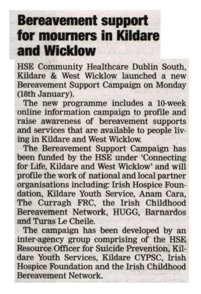 Thank you to the @LiffeyChamp for featuring the launch of the #bereavement support campaign in the Dublin South, Kildare & West Wicklow Regions  #HereForYou