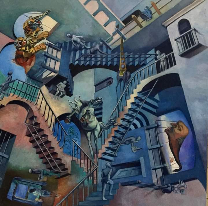 "Dino Rinaldi Art ""Dali Meets Escher"" 24"" x 24"" oil on canvas  came to mind while starting another challenging painting for this collector. The only piece of art that actually made me nauseous while working on it.  #dali #escher #oilpainting #surrealism #surrealismart #artist"