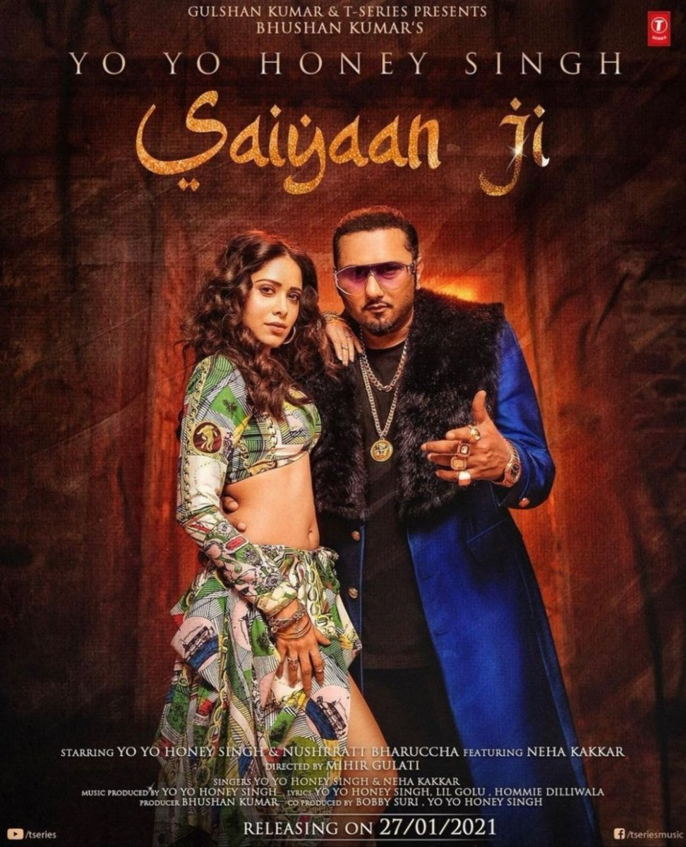 After entertaining audiences  in  sonu ke Titu ki sweet and challenging, #Nusratt Bhharucha will be seen in a music video #SaiyaanJi with rapper Yo Yo Honey Singh. Nusrat shared the first look poster of  #MusicVideo, which will release on Jan 27.#music  https://t.co/ddyXjOQGHy https://t.co/v9VMglibS8