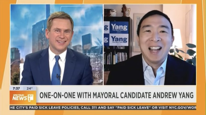 📺 On NY1 with @patkiernan, @AndrewYang talks vaccine distribution, excitement for the campaign, NY recovery, and his biggest challenge in the race.  👉 Watch the interview now: