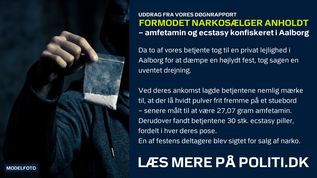 Hvad, der begyndte med en anmeldelse om musik til ulempe, førte hurtigt til en sigtelse, da vi blev inviteret indenfor i opgangen til en lejlighed i Aalborg.  Der lå nemlig narko frit fremme i stuen.  Læs mere i dagens uddrag fra vores #døgnrapport:  ➡ https://t.co/XYUx6EKIdk https://t.co/XEeH2V59kw