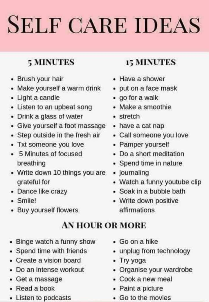 I love these Selfcare ideas, theres something here for us all, whatever day we're having - self care is self repair #100daysofwalking #MondayMotivation #mondaythoughts #MondayBlues