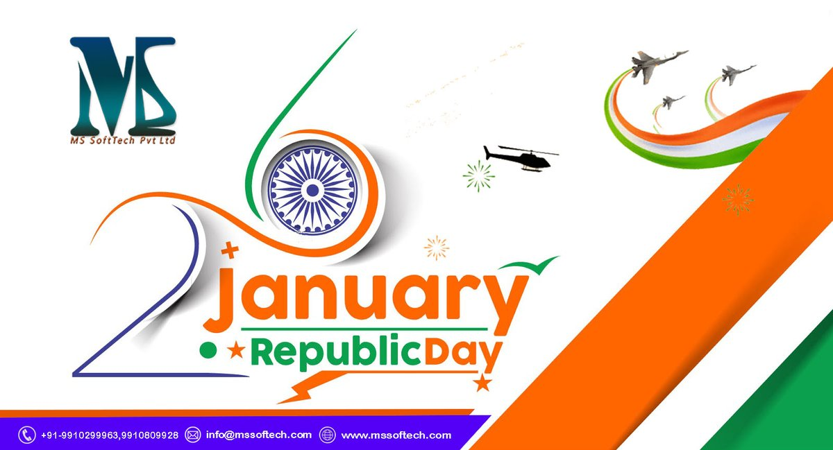 @mssofttechindia wish you a very Happy #RepublicDay2021, Republic Day is celebrated every year on 26 January to commemorate the day the #Constitution of #India came into effect.  ☎️ +91 9910299963  👉.mssofttech.org #RepublicDay #Republic #republicans #India