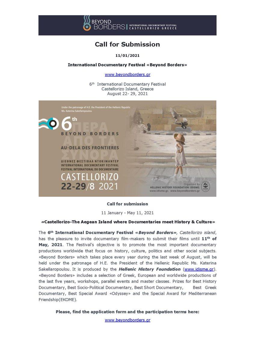 """Il 6 °Festival Internazionale del Documentario di #Kastellorizo """"Beyond Borders"""" invita i registi di documentari ditutto ilmondo a partecipare nell'edizione2021.""""Kastellorizo-Dove il documentario incontra lastoria e lacultura"""" SCADENZA PRESENTAZIONE CANDIDATURE: 11 MAGGIO 2021 https://t.co/1EPy3VWxxl"""