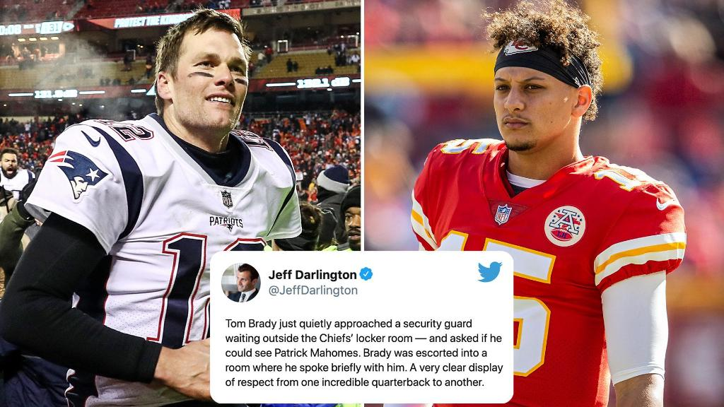 Two years ago, Tom Brady went out of his way to talk with Patrick Mahomes after the Patriots won the AFC Championship.  In a few weeks, they'll face each other in the Super Bowl 👏  (via @JeffDarlington)