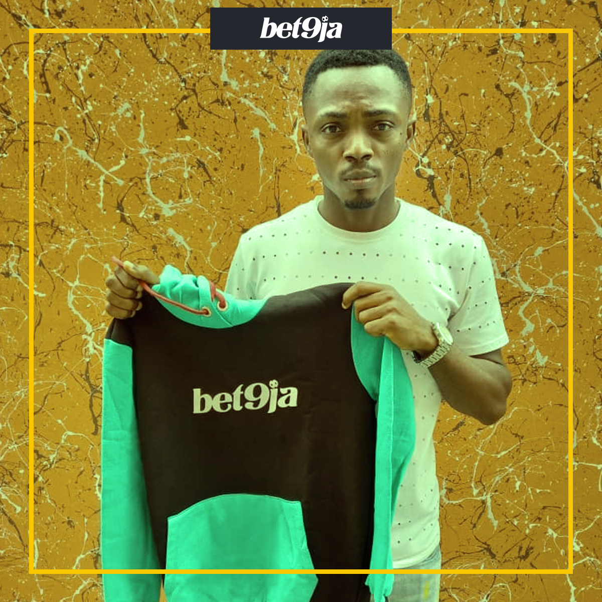 One of the winners from our #Bet9jaMNF campaign 😍 Be on the lookout for this weeks campaign and you can get your own #Bet9jaHoodie 🤸‍♂️