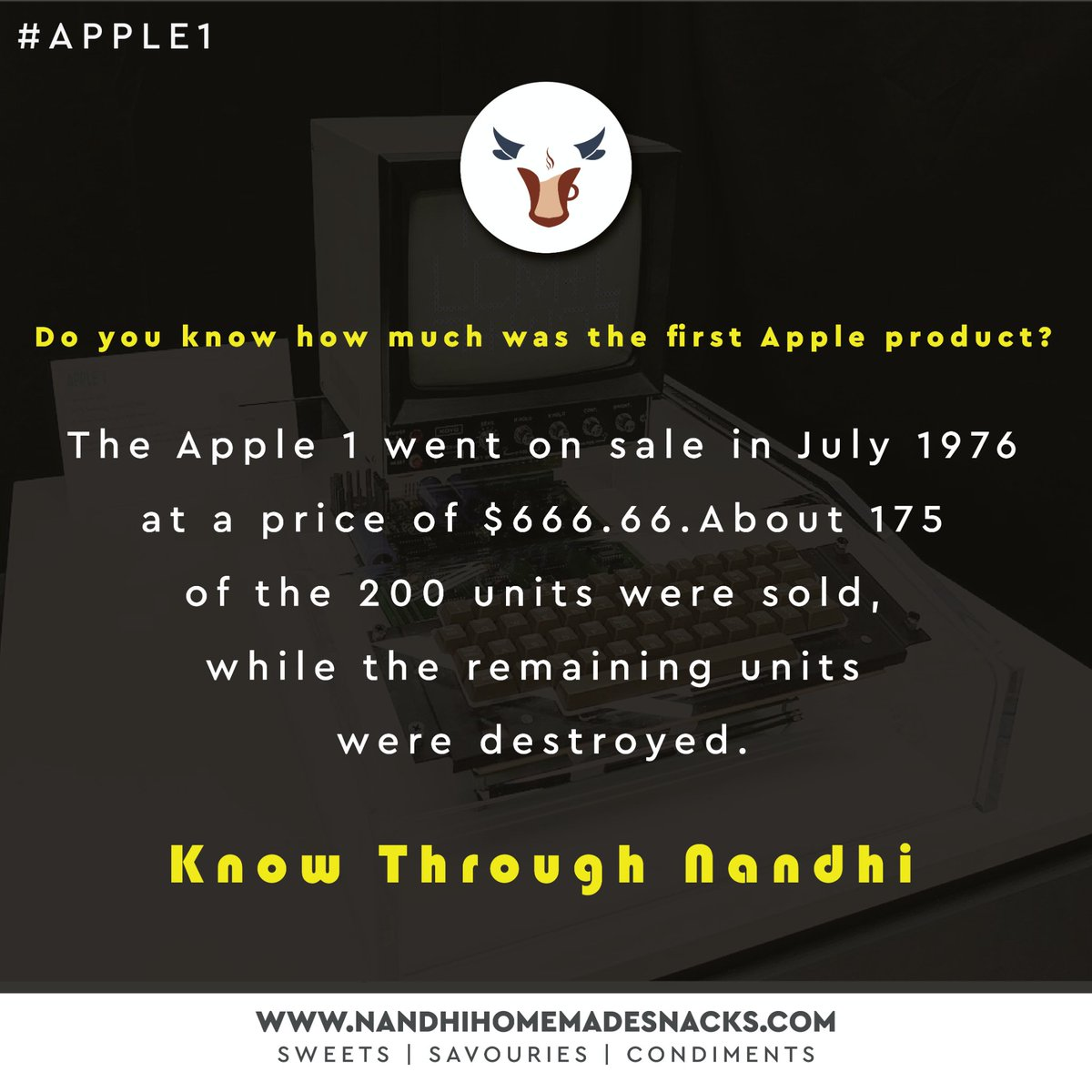 Do you know how much was the first apple product?  -Know Through Nandhi   To know about us follow our page or visit our website - Shop now :   Whatsapp : 9944455633  #food #masala #sweet #apple #iphone #iphonex #apple1 #tamilnadu #savories