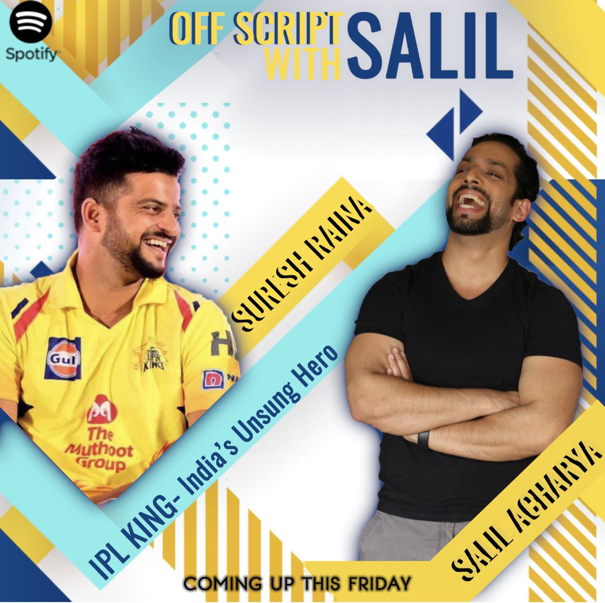 Coming this friday ... super fun , someone whos made me marvel at his batting and well were both coming to terms with being dads ... this friday on @spotifyindia @ImRaina ... u dnt wanna miss this @ChennaiIPL #sureshraina #ChennaiSuperKings #ipl #cricket #salilacharya #podcast
