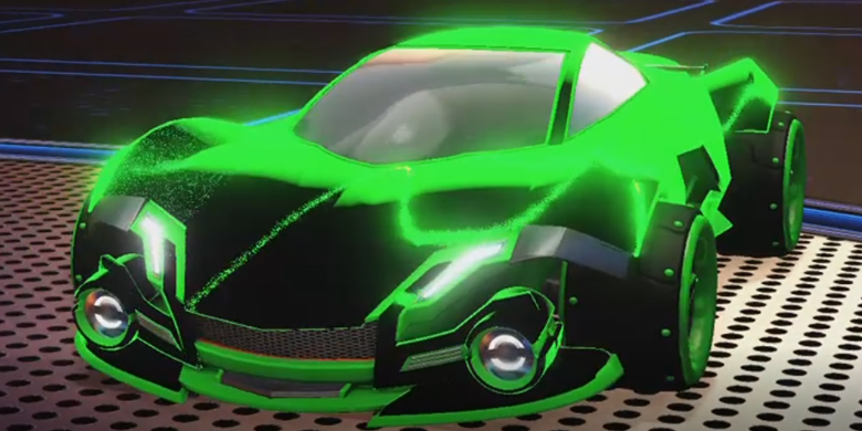 🎵#MondayVibes 🎵  💚After seeing the #GreenWall dominate in last nights #CDL2021 match 💚, we thought we'd celebrate by making an @OpTicCHI inspired car 💎. Let us know which team we should make a car for next 👀  #FearTheCharge 😈 #RocketLeague 🚗 #CallofDuty 🔫