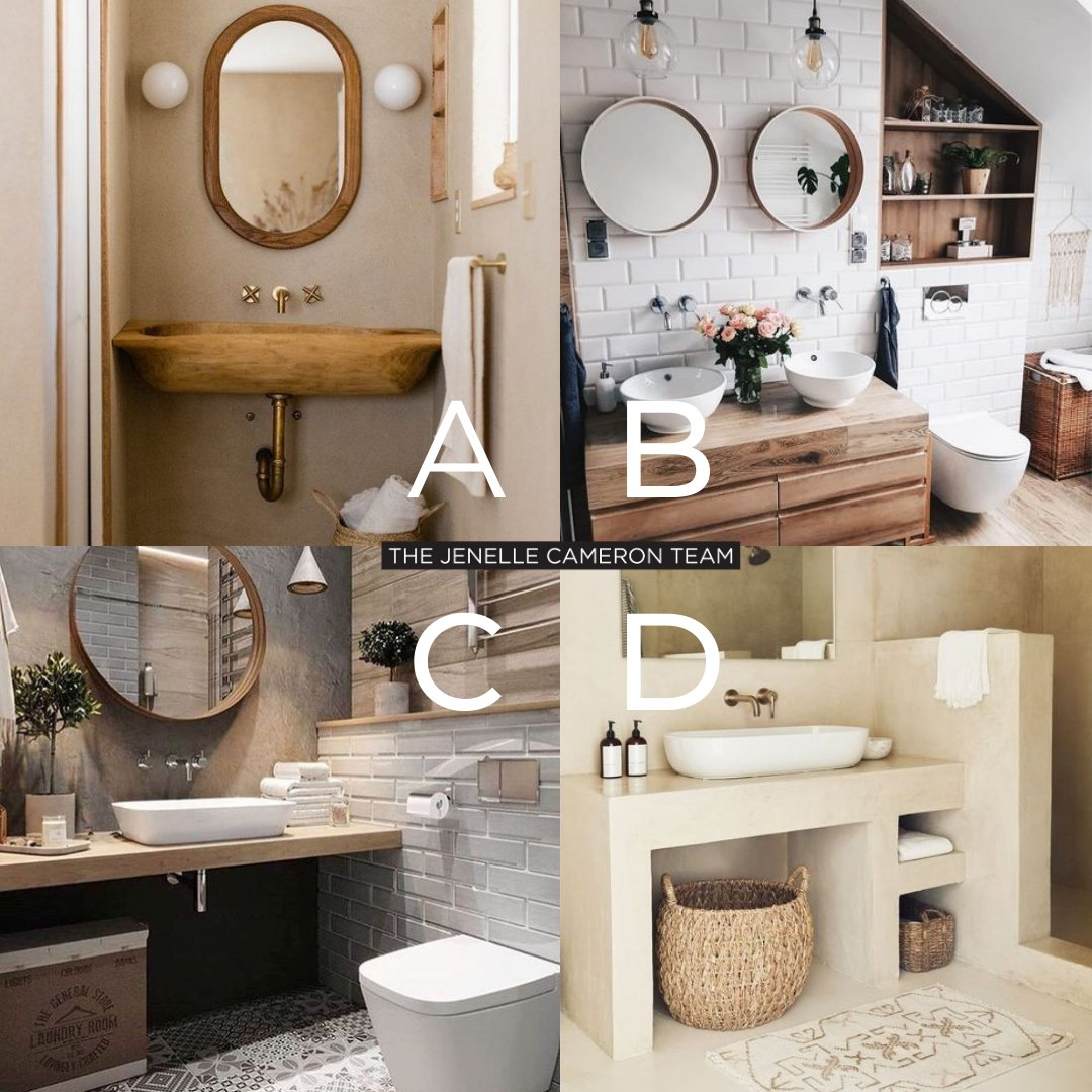 ABCD Monday! 🔠 Choose your favorite #bathroomdecor design! 😍🔥   🏡 #JenelleCameronTeam  #ABCD #poll #ABCDpoll #2021poll #decor #homedecor #bathroomdecor #bathroom #bathroomdecor #bohochic #modernchic #interiors #pampasdecor #home #design #style #monday #mondaymood #mondayvibes