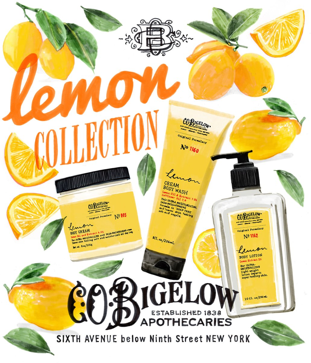 Holly Wales (@hollibobs) illustrated an ad for C.O. Bigelow's Lemon Collection 🍋 Check out her portfolio here:   #thursdaythoughts #thursdaymotivation #illustration