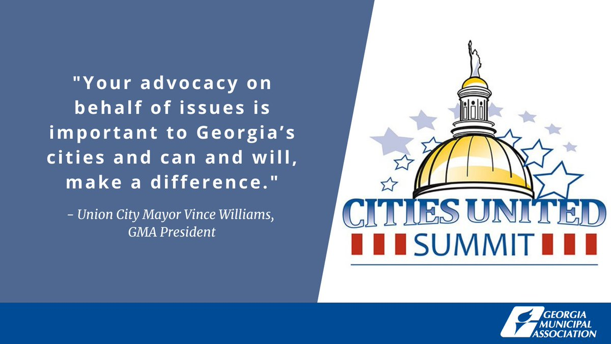 #HappeningNow: GMA President Mayor Williams (@ucmayorvince) reminds #GaCities that while the GMA staff works hard to ensure #GaCities are well represented at the Capitol, the most effective lobbyists are city leaders! #CitiesUnited #GaPol