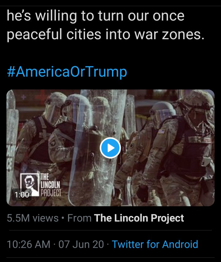 This deserves to be called out for the reprehensible double standard that it is, since our country was ripped apart for it starting Memorial Day weekend, 2020 with #AmericaOrTrump by Pelosi et al. The Lincoln Project campaign June 7th: