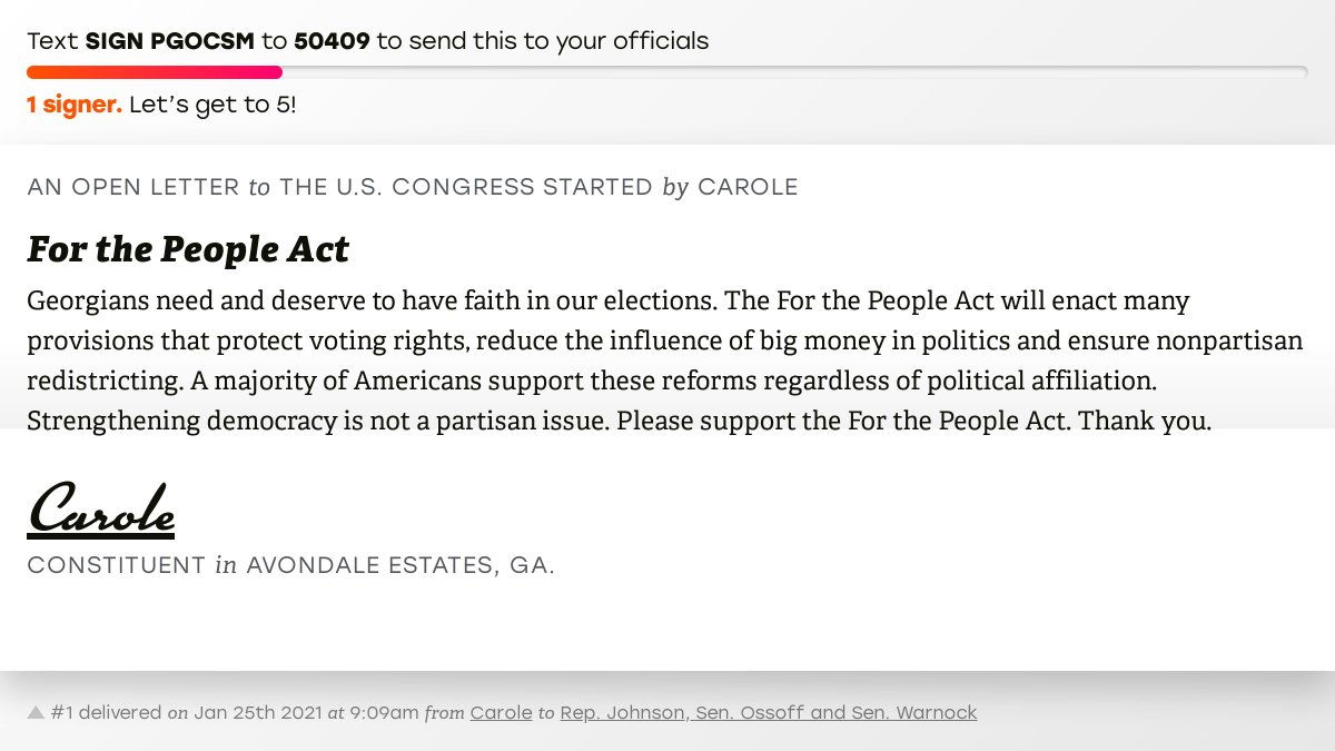 """🖋 Sign """"For the People Act"""" and I'll deliver a copy to your officials:   📨 No. 1 is from Carole to @RepHankJohnson, Sen. Ossoff and @SenatorWarnock #GA04 #GApol"""