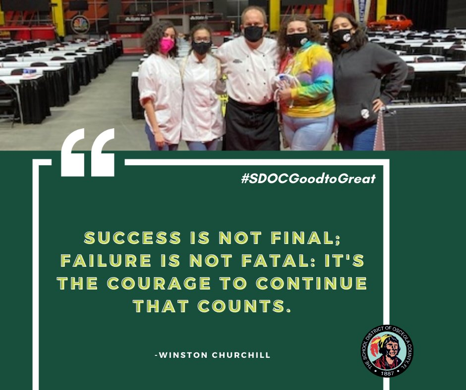 These Poinciana High culinary students have courage... do you?  They trained with chefs from Osceola Heritage Park to obtain industry training, hours, and interpersonal skills this weekend as part of our district's Culinary Program.   #SDOCGoodtoGreat #MondayMotivation #ReptheP
