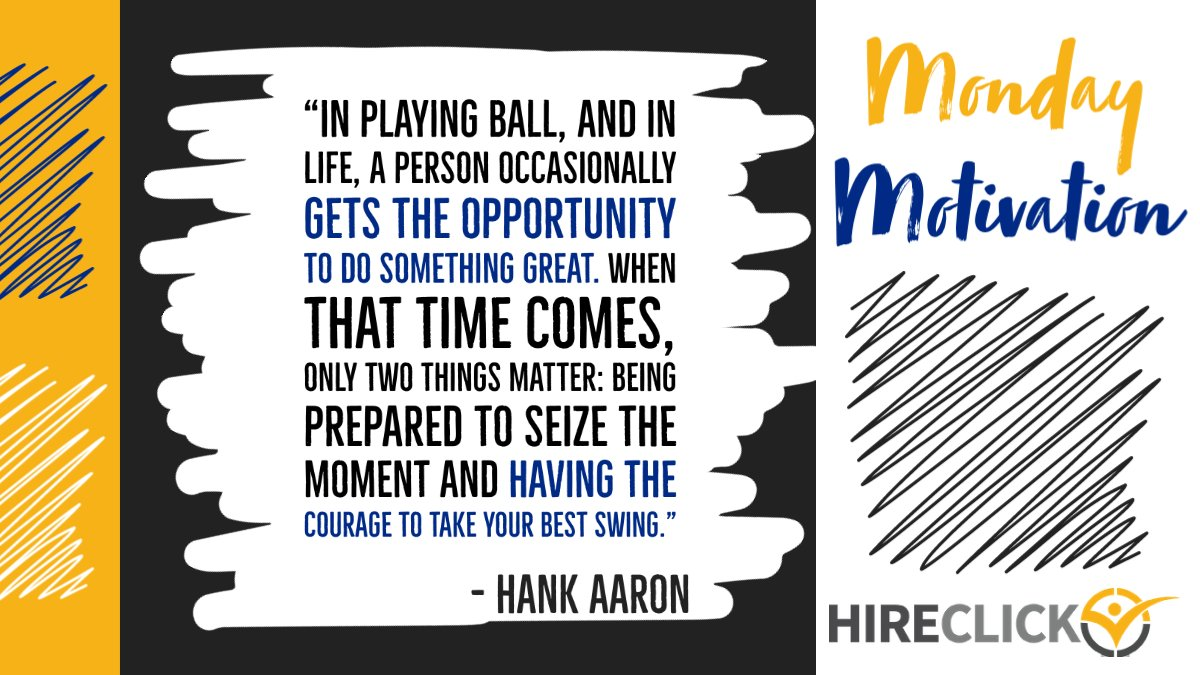 This week's #mondaymotivation is courtesy of the legendary, home-run-hitting baseball great Hank Aaron, who passed last week at the age of 86. ⚾️⬇ #MondayVibes #HankAaron #hr #ats #HumanResources #Recruiting