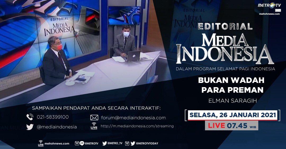 #EditorialMediaIndonesia hari Selasa (26/1) LIVE pukul 07.45 WIB dalam program #SPIMetroTV akan membahas soal pertimbangan kembali pembentukan Pam Swakarsa yang digagas calon Kapolri Komisaris Jenderal Listyo Sigit Prabowo, bersama pembedah Elman Saragih.  @mediaindonesia