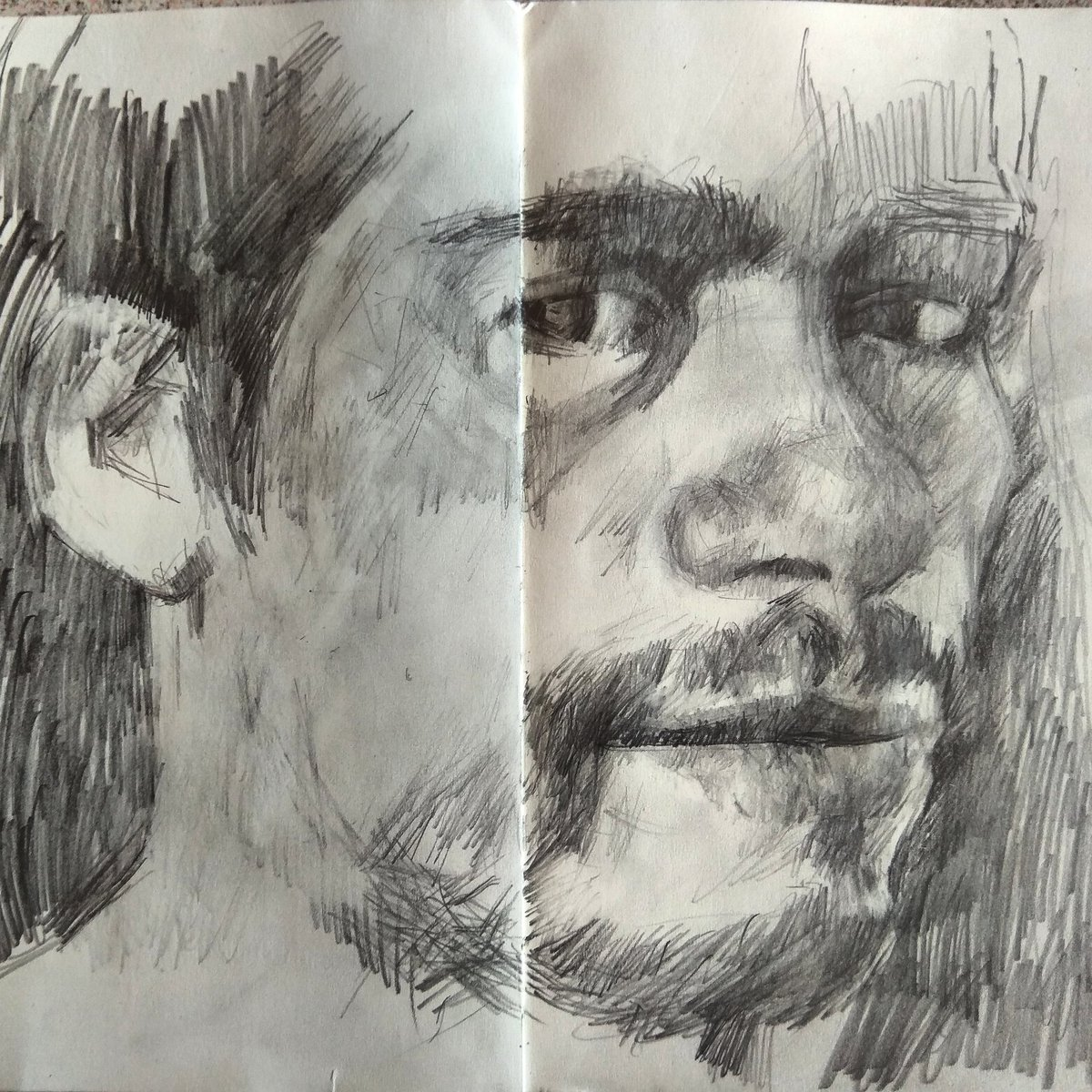 Portrait drawing, sketchbook #Covid_19 #lockdown #TweetOfTheDay #artistsontwitter #painting #painter #paint #drawing #sketchbook #sketch #sketching #art #artist #artdaily #photooftheday #picoftheday #pencilportrait #graphitedrawing #inspiration #dailysketch