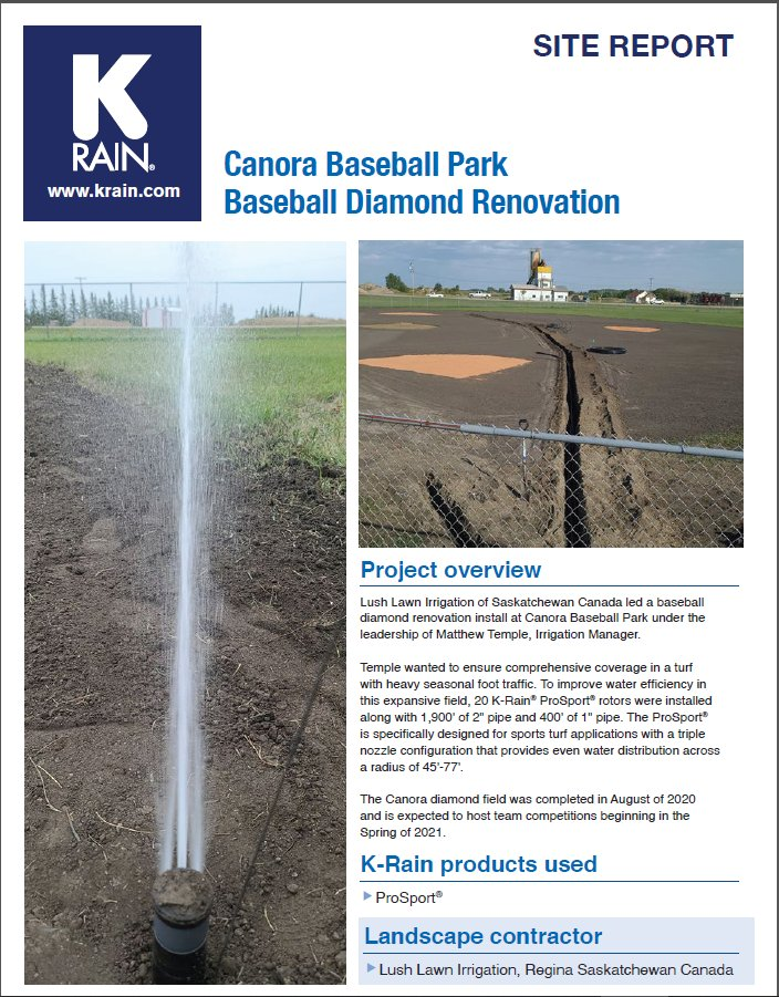 #mondaymotivation Lush Lawn Irrigation of Saskatchewan Canada crushed it last year leading a baseball diamond renovation install at Canora Baseball Park under the leadership of Matt Temple, Irrigation Manager.  #krain