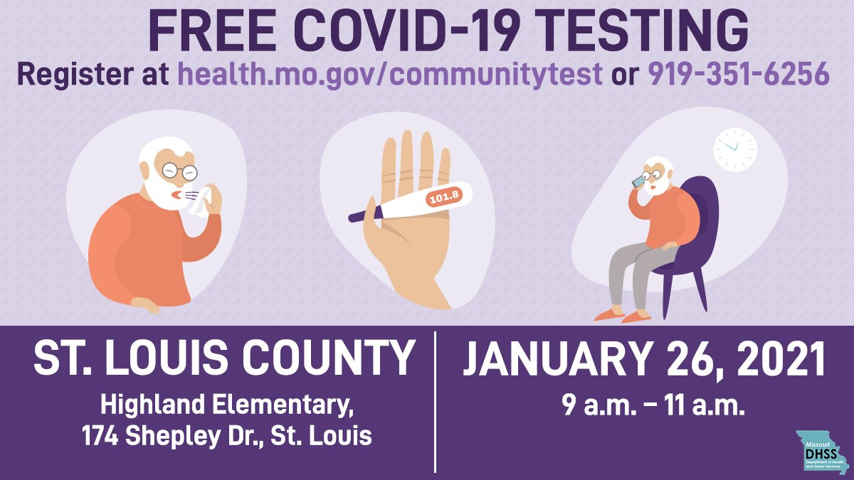 COVID-19 Testing this Tuesday from 9a-11a at Highland Elementary. Please see below.