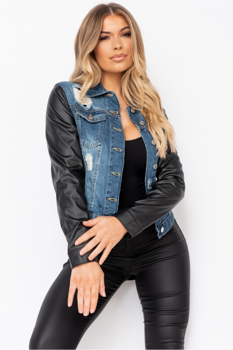 Dark Blue Faux Leather Sleeve Distressed Denim Jacket  #itsasin #prettylittlething #selfridges #boohoo #beauty #love #beautiful #fashion #makeup #style #instagood #model #photography #like #photooftheday #instagram #art #follow #cute #girl #happy #smile